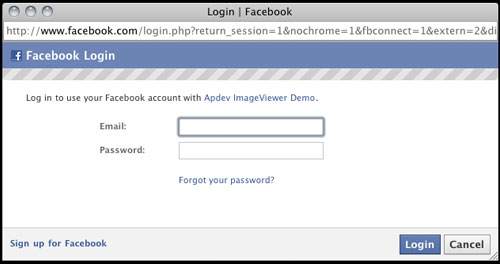 Facebook Connect ActionScript 3 ImageViewer Example - aron ...